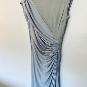 Gina Baccone Pale Grey Wrap Evening Dress
